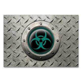 Teal and Black Industrial Biohazard Steel Effect Table Card