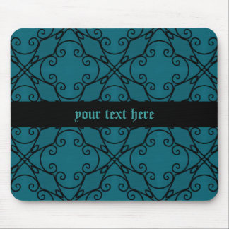 Teal and black kaleidoscope mouse pad