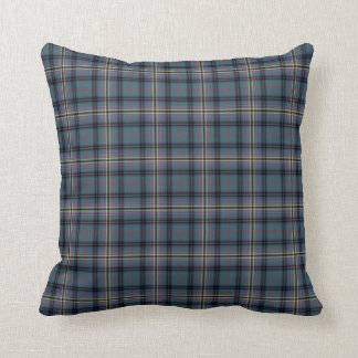 Teal and Black Kennedy Clan Ancient Scottish Plaid Throw Pillow
