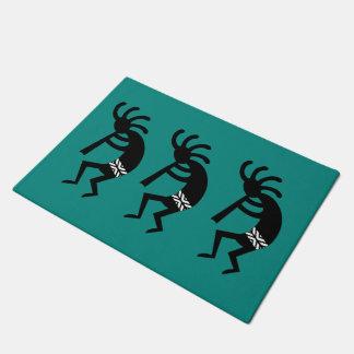 Teal And Black Kokopelli Southwest Design Doormat