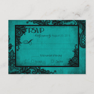 Teal and Black Lace Gothic RSVP Card