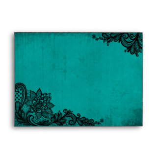 Teal and Black Lace Gothic Wedding Envelopes