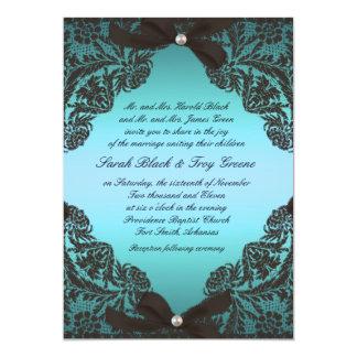 "Teal and Black Lace wedding invitation 5"" X 7"" Invitation Card"