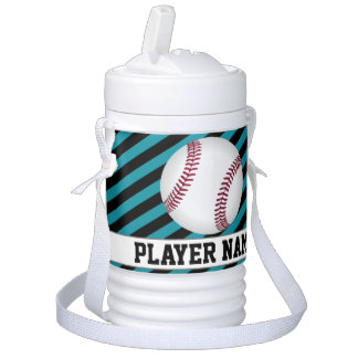 Teal and Black Little League Baseball Player Jug Cooler