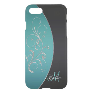 Teal and Black Monogram iPhone 7 Case