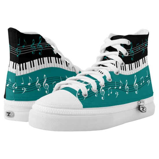 Teal and  Black music themed High-Top Sneakers