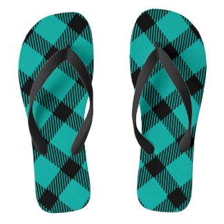 Teal and Black Plaid Design Flip Flops