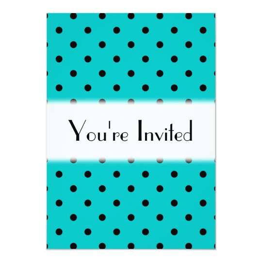 Teal and Black Polka Dot Pattern. Card