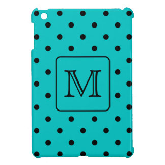 Teal and Black Polka Dot Pattern. Custom Monogram. Case For The iPad Mini