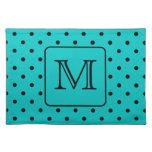 Teal and Black Polka Dot Pattern. Custom Monogram. Cloth Place Mat