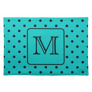 Teal and Black Polka Dot Pattern. Custom Monogram. Cloth Placemat