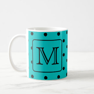 Teal and Black Polka Dot Pattern. Custom Monogram. Coffee Mug