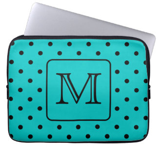 Teal and Black Polka Dot Pattern. Custom Monogram. Computer Sleeve