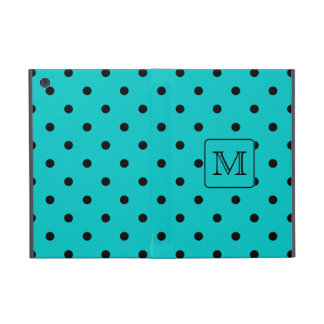 Teal and Black Polka Dot Pattern. Custom Monogram. Cover For iPad Mini
