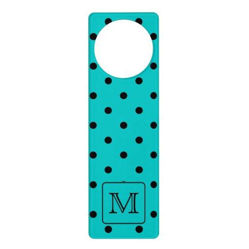 Teal and black polka dot pattern custom monogram door