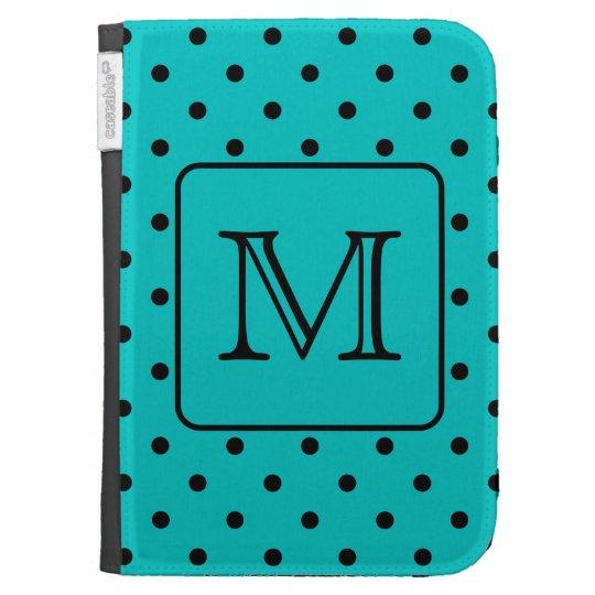 Teal and Black Polka Dot Pattern. Custom Monogram. Kindle 3 Cases