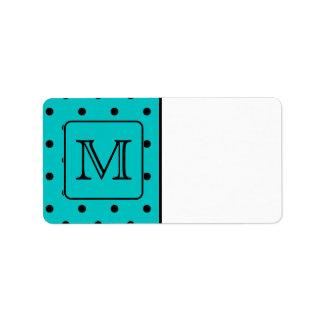 Teal and Black Polka Dot Pattern. Custom Monogram. Custom Address Labels