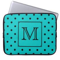 Teal and Black Polka Dot Pattern. Custom Monogram. Laptop Sleeve