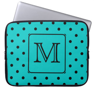 Teal and Black Polka Dot Pattern. Custom Monogram. Laptop Sleeve