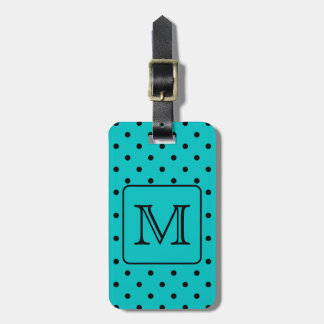 Teal and Black Polka Dot Pattern. Custom Monogram. Tag For Luggage