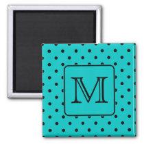 Teal and Black Polka Dot Pattern. Custom Monogram. Magnet