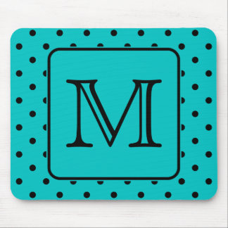 Teal and Black Polka Dot Pattern. Custom Monogram. Mouse Pad