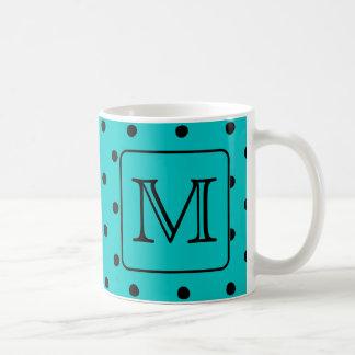 Teal and Black Polka Dot Pattern. Custom Monogram. Coffee Mug