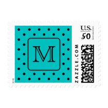 Teal and Black Polka Dot Pattern. Custom Monogram. Postage