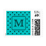 Teal and Black Polka Dot Pattern. Custom Monogram. Stamps