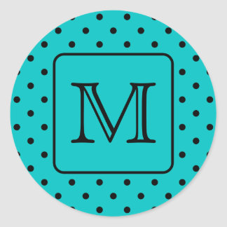 Teal and Black Polka Dot Pattern. Custom Monogram. Classic Round Sticker
