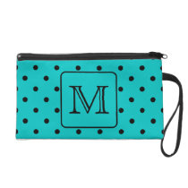 Teal and Black Polka Dot Pattern. Custom Monogram. Wristlet Purse