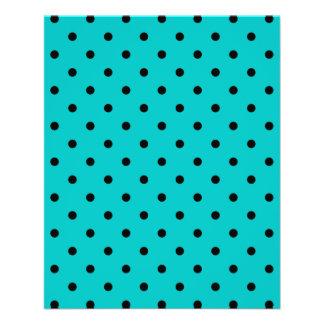 Teal and Black Polka Dot Pattern. Flyer