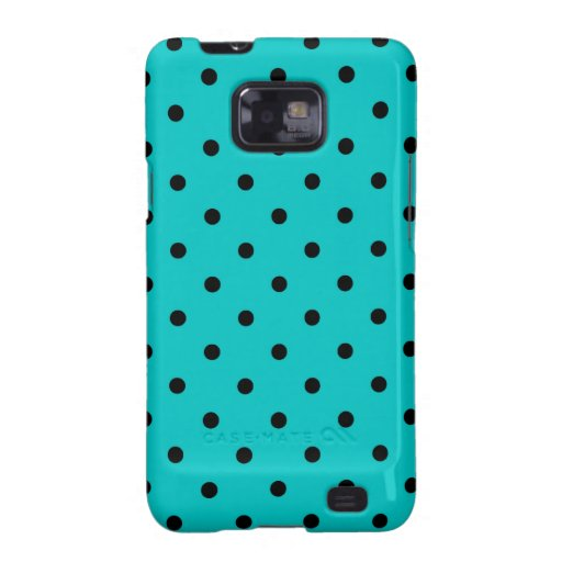 Teal and Black Polka Dot Pattern. Galaxy SII Cases