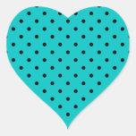 Teal and Black Polka Dot Pattern. Heart Sticker