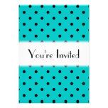 Teal and Black Polka Dot Pattern. Invites