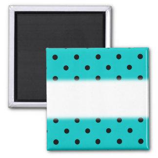 Teal and Black Polka Dot Pattern. Magnet