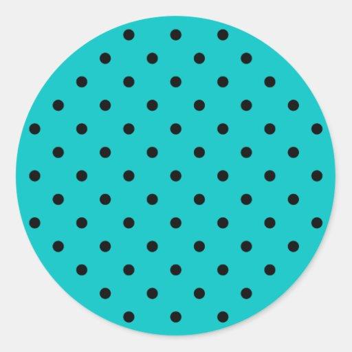 Teal and Black Polka Dot Pattern. Round Sticker