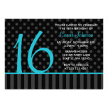 Teal and Black Polka Dot Stripes Sweet 16 Birthday Announcements