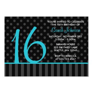 Teal and Black Polka Dot Stripes Sweet 16 Birthday 5x7 Paper Invitation Card