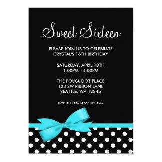Teal and Black Polka Dots Bow Sweet 16 Birthday 5x7 Paper Invitation Card