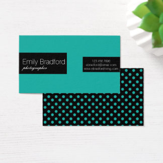Teal and Black Polkadot Business Cards