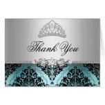Teal and Black Princess Tiara Thank You Card