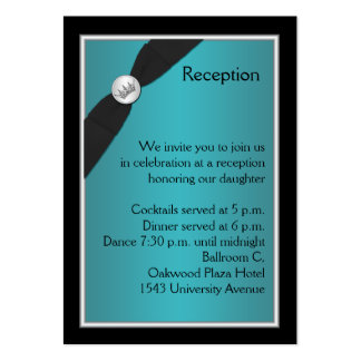 Teal and Black Quinceanera Reception Card Large Business Cards (Pack Of 100)