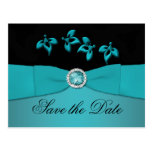 Teal and Black Save the Date Postcard