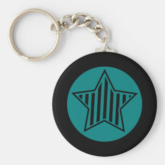 Teal and Black Star Keychain