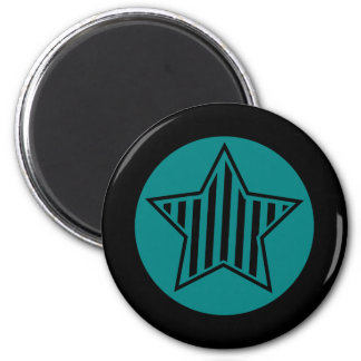 Teal and Black Star Round Magnet