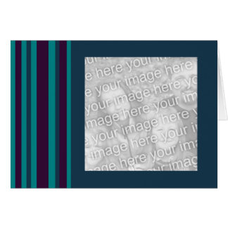 Teal and black striped phot frame card
