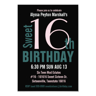 Teal and Black Sweet 16th Party 3.5x5 Paper Invitation Card