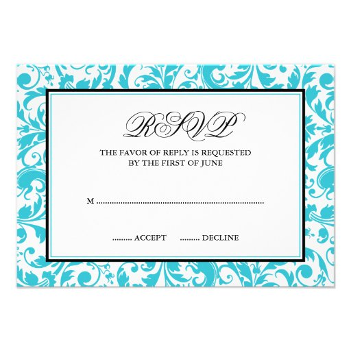 Teal and Black Swirl Damask Response Card