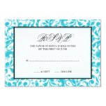 Teal and Black Swirl Damask Response Card Invitations